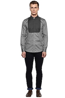 Grey Front Paneled Shirt by LACQUER Embassy