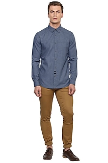 Blue Shirt With Tan Elbow Patch by LACQUER Embassy