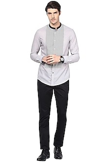 Grey Striped Cotton Shirt by LACQUER Embassy
