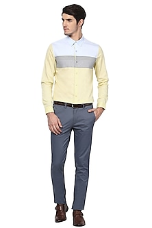 Yellow Striped & Textured Shirt by LACQUER Embassy