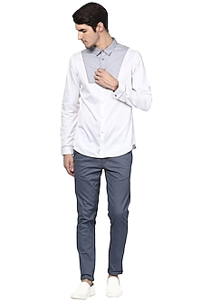 White & Grey Cotton Shirt by LACQUER Embassy