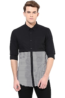 Black Striped Shirt With Pocket by LACQUER Embassy