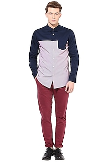 Blue Striped Shirt With Pocket by LACQUER Embassy