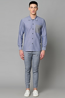 Blue Chambray Cotton Shirt With Striped Pocket by LACQUER Embassy