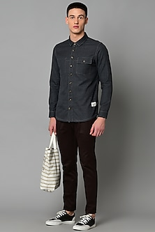Grey Cotton Shirt With Stitch Detailing by LACQUER Embassy