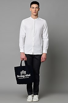 White Cotton Shirt With Stripes Detailing by LACQUER Embassy