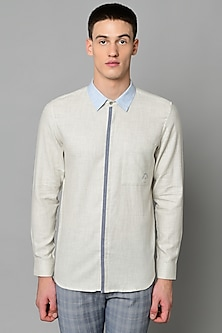Off White Cotton Shirt by LACQUER Embassy