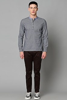 Navy Blue Checkered Shirt by LACQUER Embassy