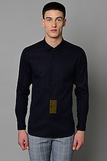 Navy Blue Cotton Shirt by LACQUER Embassy