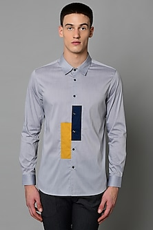 Grey Narrow Collared Shirt by LACQUER Embassy