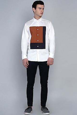 White Shirt With Color Blocking Pattern by Lacquer Embassy