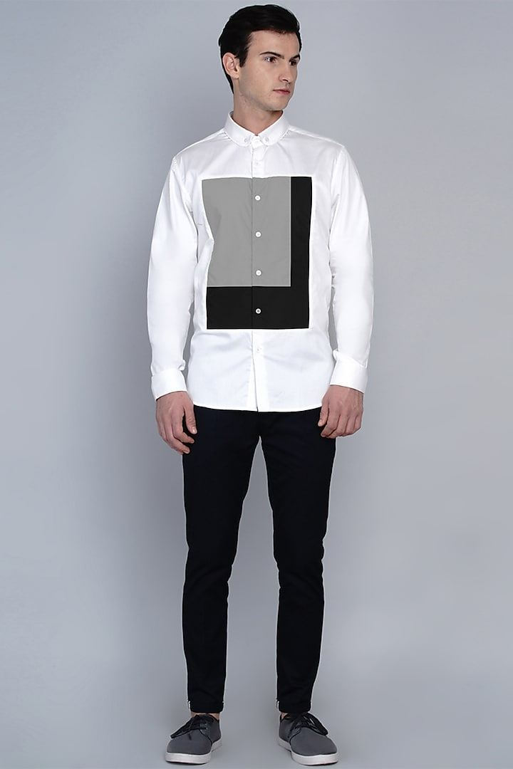 White Shirt With Cut & Sew Panelling by Lacquer Embassy