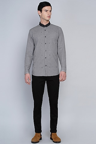 Grey Shirt With Printed Motifs by Lacquer Embassy
