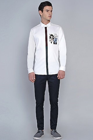 White Shirt With Floral Pocket by Lacquer Embassy