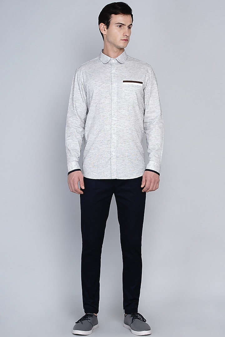 Light Grey Shirt With Cut & Sew Detailing by Lacquer Embassy