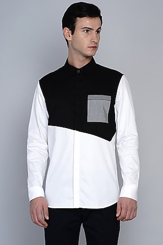 Black & White Cotton Shirt by Lacquer Embassy