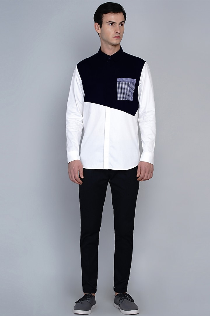 Navy Blue Shirt In Premium Cotton by Lacquer Embassy