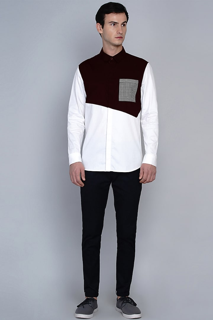 Maroon Shirt With Cut & Sew Detailing by Lacquer Embassy