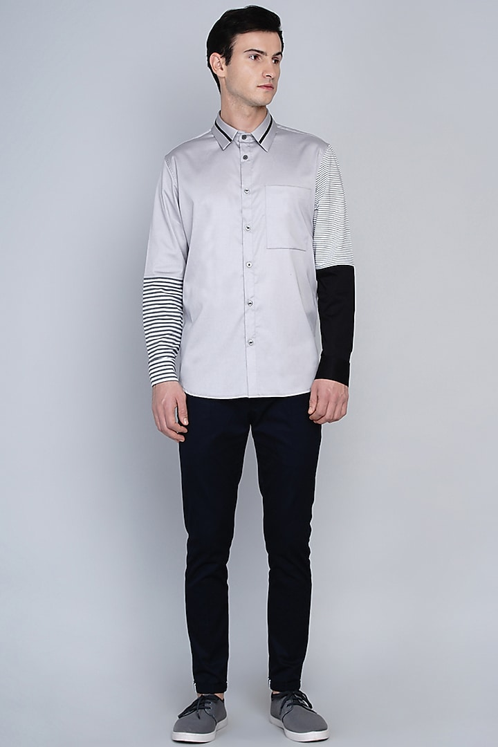 Grey Shirt With Color Blocking Pattern by Lacquer Embassy