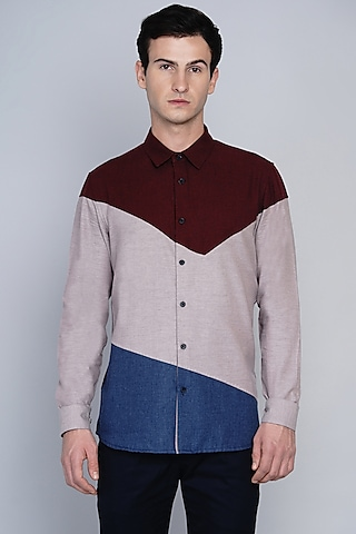 Maroon Shirt With Color Blocking Pattern by Lacquer Embassy