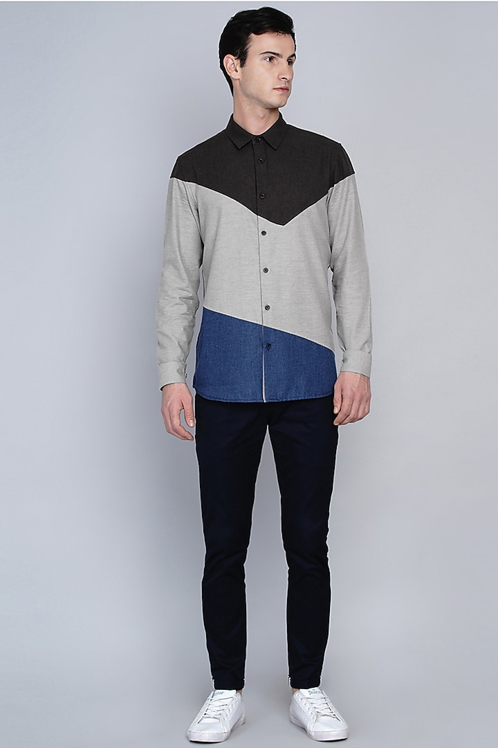 Grey Shirt With Cut & Sew Panels by Lacquer Embassy