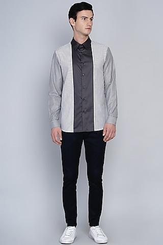 Grey Shirt With Stripe Detailing by Lacquer Embassy