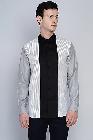 Black Shirt With Stripe Detailing by Lacquer Embassy