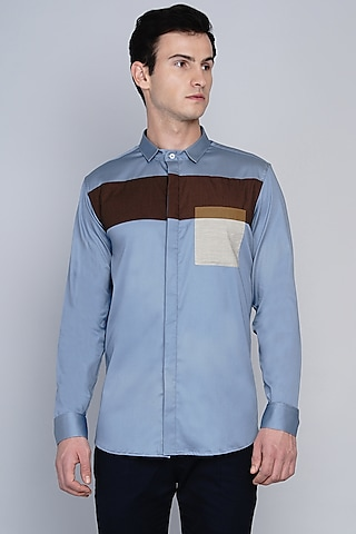 Blue Shirt With Cut & Sew Panels by Lacquer Embassy