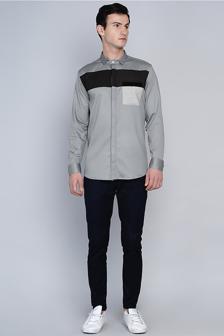 Grey Shirt With Color Blocking by Lacquer Embassy