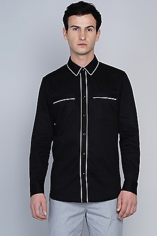 Black Shirt With Pipe Work by Lacquer Embassy
