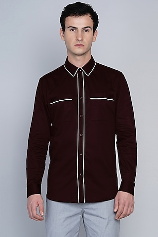 Maroon Shirt With Pipe Work by Lacquer Embassy