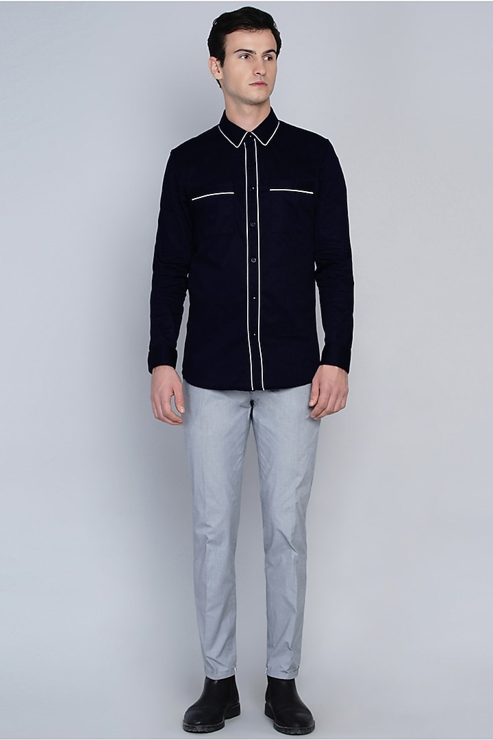 Navy Blue Shirt With Pipe Work by Lacquer Embassy