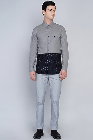 Grey & Navy Blue Shirt by Lacquer Embassy