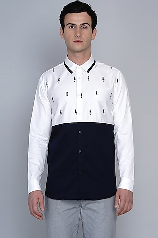 Black & White Shirt With Tree Motifs by Lacquer Embassy