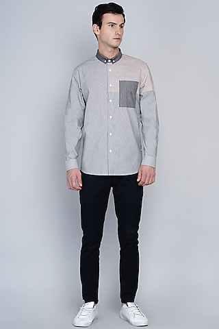 Grey & Pink Shirt In Premium Cotton by Lacquer Embassy