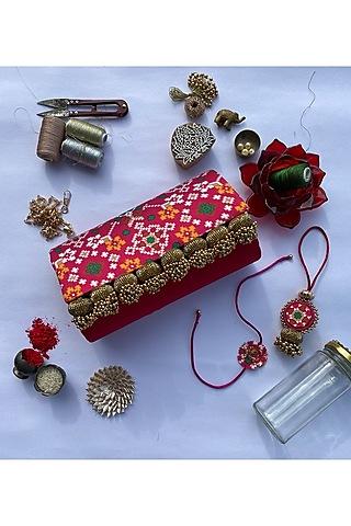 Pink Digital Printed Rakhi Set (Set of 3) by Loyalty and Gifting