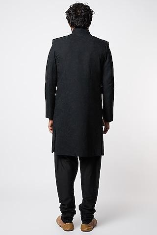 Black Embroidered Achkan Jacket Set by Lalit Jalan