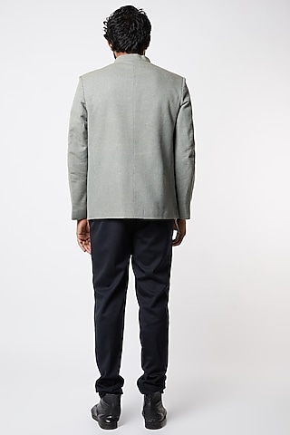 Grey Handloom Prince Coat by Lalit Jalan
