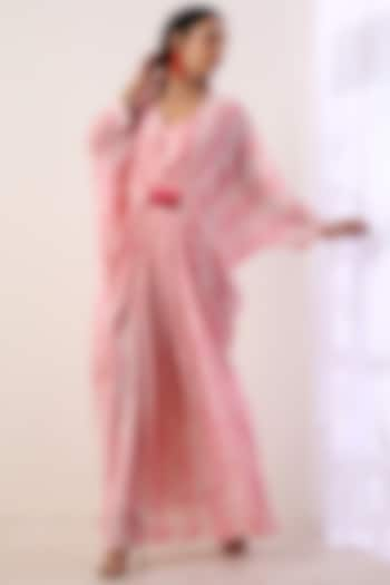 Baby Pink Hand Embroidered Kaftan With Slip by Label Nitika