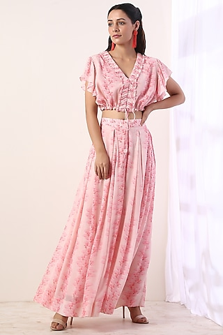 Baby Pink Floral Printed Co-Ord Set by Label Nitika
