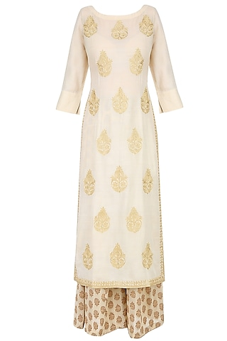 Ivory Golden Thread Embroidered Kurta with Palazzo Pants by Lajjoo c