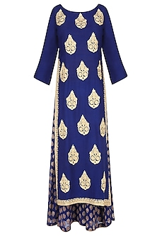 Blue Floral Motifs Embroidered Kurta with Palazzo Pants by Lajjoo c