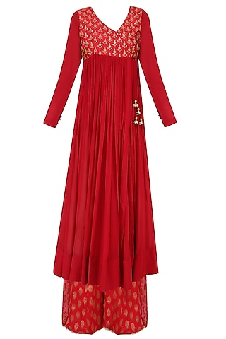 Red Thread Embroidered Overlap Kurta with Sharara Pants by Lajjoo c