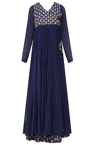 Blue Golden Thread Embroidered Overlap Kurta With Sharara Pants by Lajjoo c