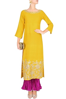 Yellow Gota Embroidered Kurta with Pink Crushed Pants by Lajjoo c
