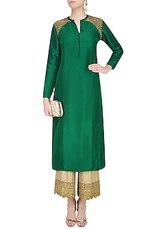 Dark Green Golden Thread Embroidered Kurta with Beige Pants by Lajjoo c