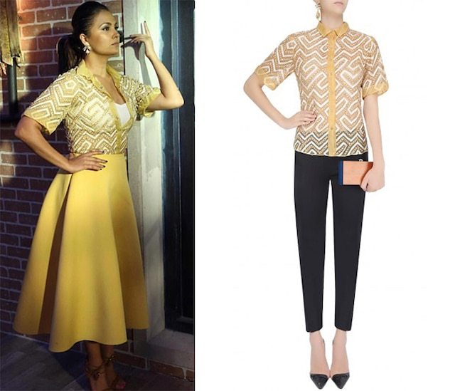 Yellow Applique Work Button Down Shirt by Anand Bhushan
