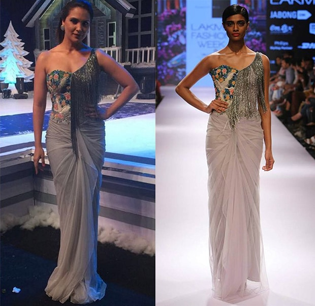 Oyster floral and dove embroidery tassel gown by Sonaakshi Raaj