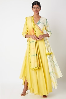 Yellow & Ivory Tie-Dye Anarkali With Stole by Leela By A