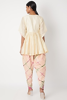 Ivory Embroidered & Tie-Dye Kurta Set by Leela By A
